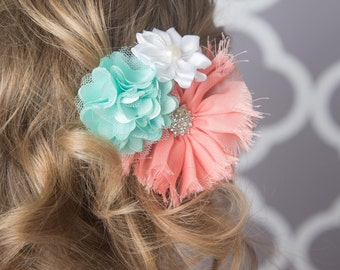 Coral hair clip, mint hair clip, white flower clip, bridal hair accessory, girl hair clip, wedding flower girl birthday gift for her, baby