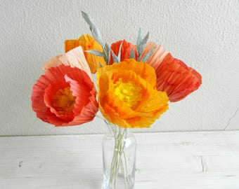 Set of seven icelandic poppies and two leafy branches