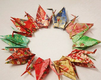 Japanese Chiyogami Paper Cranes in Assorted Design Origami Paper Cranes