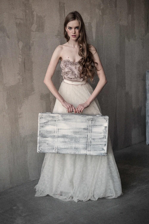 Trägerlosen Korsett Hochzeitskleid mit handgeschliffenen