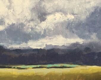 """Original Cloudy Landscape Oil Painting, 5x7"""""""