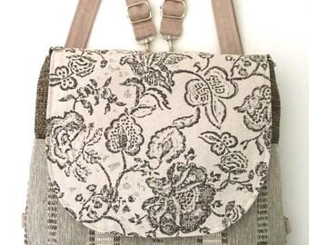backpack purse, womens messenger bag,  beige crossbody bag ,crossbody purse, sling bag, fabric bag, zipper bag, fit ipad, ready to ship