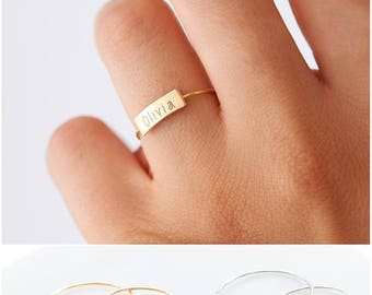 Personalized Name Ring, Custom Initial Ring, Stacking Ring Custom Hand Stamped Ring, Children Names Ring, Perfect Gift for Wife Mothers Gift