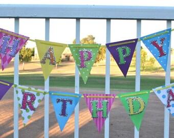 Birthday Banner - Sweet Shoppe Banner, Rainbow Party Banner, Lollipop Party decor, Party Shoppe decor, ready to ship