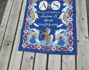 Vintage Royal linen tea towel made in the 1980s. Royal collectibles. British Royal memorabilia.