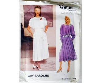 "UNUSED Vogue Paris Original 1553 Vintage 80's  Guy Laroche Designer Dress Sewing Pattern Size UK 16 Bust 38"""
