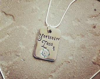 Yorkshire Lass Pewter Pendant Necklace - Hand Stamped Necklace - Yorkshire Rose - Gift for Her - Jewellery - Personalised - Personalize