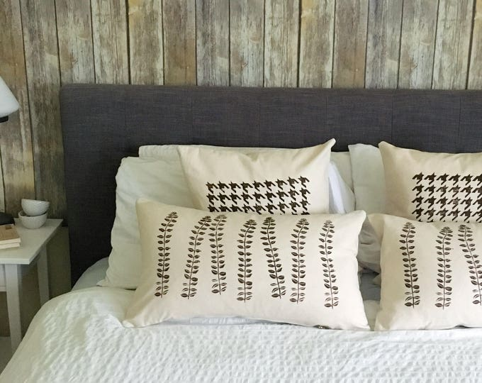 Set of 4 organic canvas pillow covers - various patterns in dark chocolate
