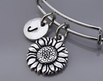 Sunflower Bangle, Sunflower bracelet, Flower charm, Silver sunflower bracelet, Expandable bangle, Personalized bracelet, Initial bracelet