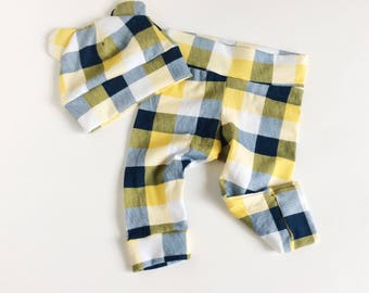Plaid Baby leggings newborn leggings baby boy leggings toddler leggings newborn leggings and hat set bear hat set girl leggings