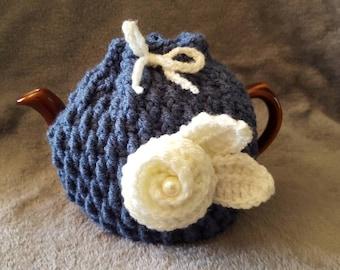 "2 Cup Tea Cosy. Handmade crochet ""Pearl Rose""."