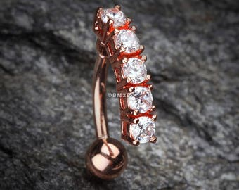 Rose Gold Classic Vertical Sparkle Reverse Belly Button Ring