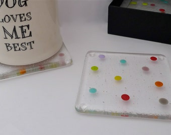Coasters - spotty coasters - multicolour coasters - drinks coasters  - fused glass coasters - Polka dot coasters.