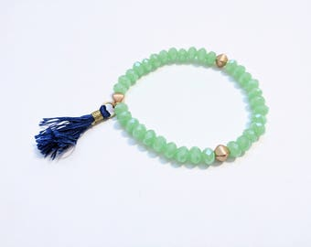 Green Bohemian Glimmer Stretch Bracelet with Blue Tassel