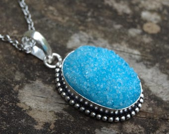 "Sterling Silver Blue Druzy Pendant Necklace - Sterling Silver 18"" chain - Blue Druzy Pendant -Natural Stone Necklace  Boho chic Necklac"