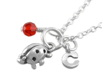 Ladybug Necklace, Sterling Silver, small pendant, 1st birthday necklace, child, personalized, birthstone, initial, girl, red, party CASSIDY