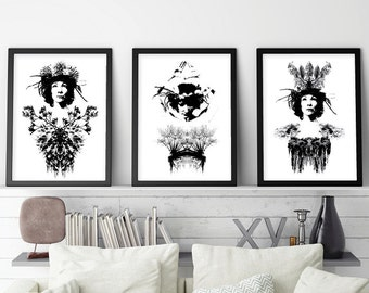 Set of 3 Prints, Black and White Art, Art Set, Scandinavain Poster, Scandinavain Print, Minimalist Poster, Monochrome, Downloadable Prints