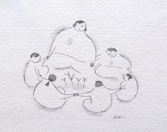 pencil drawing, nursery illustration, waldorf art, waldorf inspired, teacher art, mother earth love, nature circle time, ORIGINAL sketch