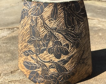 Hand built, trumpet vine, sgraffito, pottery pocket vase