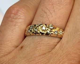 14k solid gold Men's Diamond nugget ring - men wedding Band - Men wedding Ring - mens Gold Ring - Men Gold nugget Ring