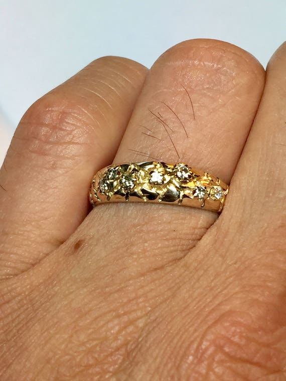 14k solid gold Mens Diamond nugget ring men wedding