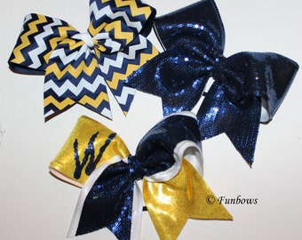 Set of three Cheerleading bows Allstar custom in your colors by Funbows