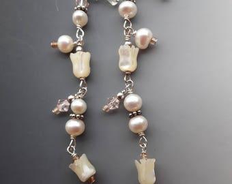 MOP, Pearl, and Crystal Chandelier Earrings
