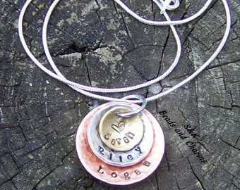 3 layer,  Mommy necklace, Personalized jewelry,  Hand Stamped Necklace, custom Jewelry , Mom Necklace , New Mother Necklace