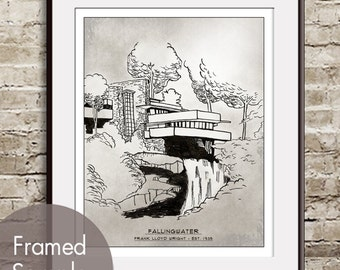 FallingWater- Landmarks (Artist Sketchpad Collection) Art Print (Buy 3 and get One Free)