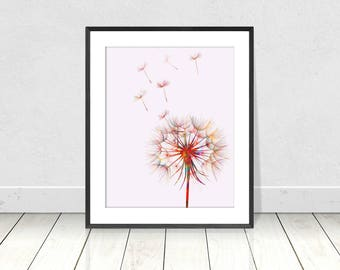 Multi-Colored DANDELION PRINT on White Background -  Digital Print - Instant Download - Wall Art - Flower Art - Bedroom Wall Art - A3 Print