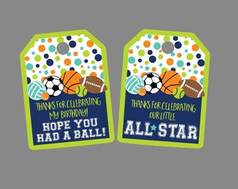 All Star Sports Party Favor Tag. For Sports Birthday Party or Baby Shower. Printable, Digital. Basketball, Football, Soccer, Baseball, More