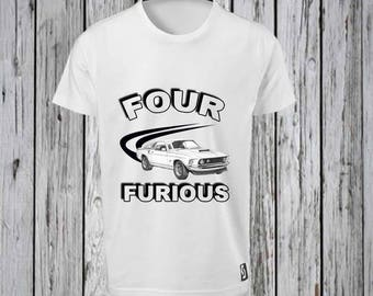 Four and Furious Iron on Tshirt Design FILE ONLY!!- 4th Birthday Tee shirt- Fourth Birthday Party- Four and Furious Birthday shirt-Fast