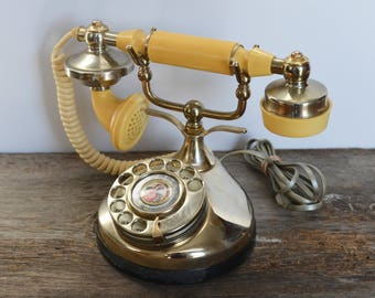 Vintage Rotary Telephone, Dial Phone, Silver Metal body with Cradle Receiver, mid century phone