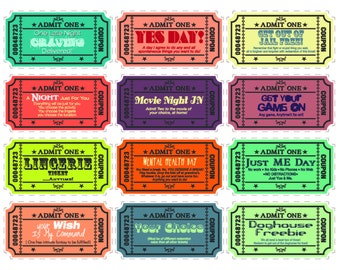 Printable Love coupons for wife/husband - boyfriend/girlfriend with extra blank coupons. 24 pre-designed coupons and 12 blanks