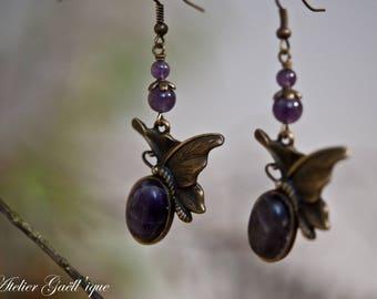 Butterfly, Amethyst earrings, handmade, unique piece!
