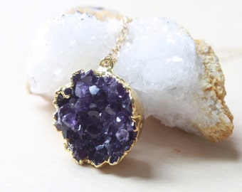 Amethyst Necklace, Druzy Necklace, Boho Jewelry, Gypsy Jewelry, Amethyst Crystal, Amethyst Pendant, Geode Necklace, Bridesmaid Gift
