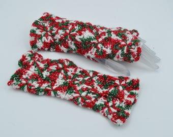 Women Christmas festive outfit women fingerless gloves Christmas colors gift for teacher mittens fingerless
