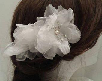 "Wedding Hair Flower Comb, 5.5"" x 3.5"", Organza Flower Hair Comb __FF01"