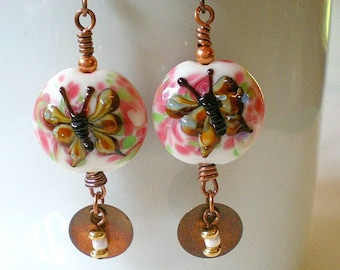 Lampwork Butterfly Earrings, Pink and Brown Glass Butterfly Earrings, Butterfly Earrings, Copper Dangles Earrings