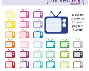 TV with Antenna Clipart 28 colors, PNG Digital Clipart - Instant download - television clip art tv shows movies