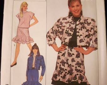Simplicity 9251, Girl's Top, Skirt, and Jacket Pattern