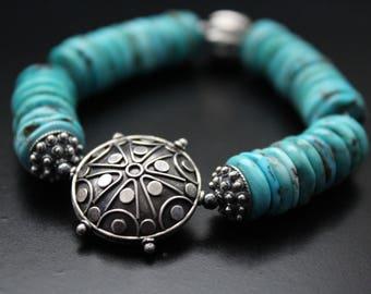 Nacozari turquoise and Bali sterling bead bracelet, genuine turquoise bracelet, western style stretch bracelet, boho stackable bracelet