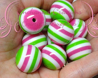 20mm Fuchsia, Lime Green and White Striped Resin Beads, Chunky Beads, Bubblegum Beads, Gumball Beads, Chunky Jewelry Beads, Resin Beads
