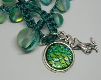 Mermaid Scales, charm, wrap, bracelet, crochet necklace