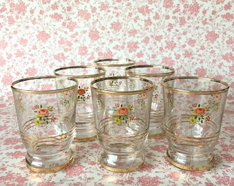 Floral Shot / Liqueur Glasses Set of 6