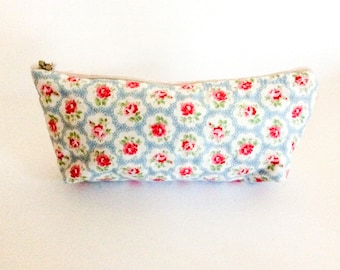 Cath Kidston zipper pouch/ blue makeup purse/ pencil case/ Christmas gift/ Cath Kidston fabric bag/ Birthday gift/ zipper purse/ handmade
