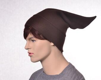 Brown Elf Hat Pointed Costume Beanie Cap Brown Dwarfs Cap Brownie Fairy Hat