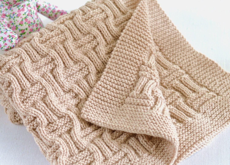 Knitting Pattern Beginner Knit Baby Blanket in Double Basket Weave ...