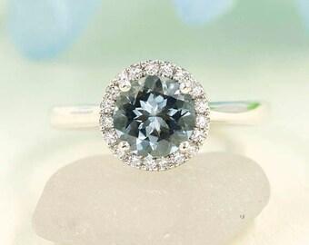 Diamond Halo Ring.Round Cut Aquamarine Engagement Ring.Wedding Bridal 7mm AAA Aquamarine Ring.High Quality Diamond Ring 14K White Gold Ring.