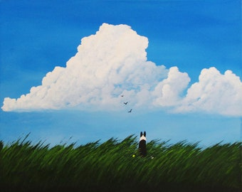 Border Collie Dog Art LARGE Print of Todd Young painting SUMMER BREEZE